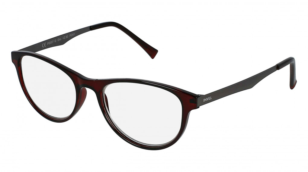 Fender Dark Red/Gun with Clear Optical Reading Glass lenses